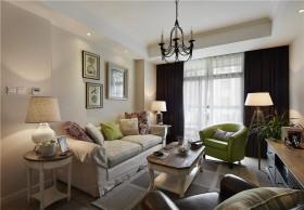 美式田园风格小户型客厅沙发背景墙图片