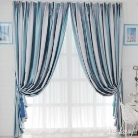 新古典风格条纹卧室窗帘装修效果图