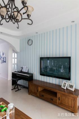 地中海风格电视背景墙壁纸图片
