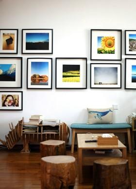 客厅实木原生态家具图片 照片墙装修