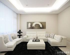 白色简约风格家装客厅装修效果图片