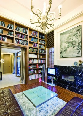 混搭客厅装修墙面高书架效果图欣赏