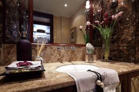 复古卫生间洗手区台面装修