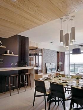 简约家居餐厅木吊顶装修led餐厅灯图片