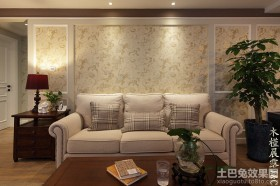 美式客厅沙发背景墙壁纸效果图