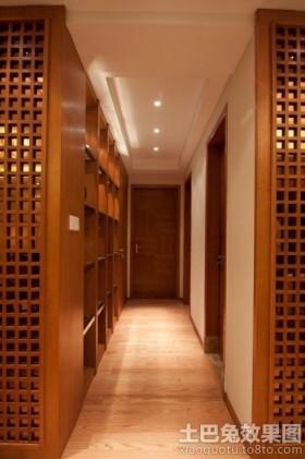 原木色简约风格简约中式走廊装修效果图