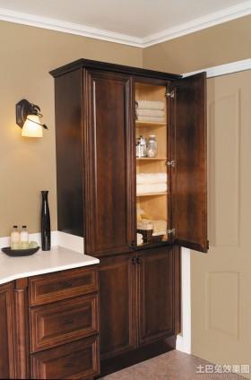 美式实木整体浴柜效果图图片