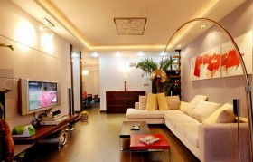 96平简约暖色调风格两室一厅装修效果图