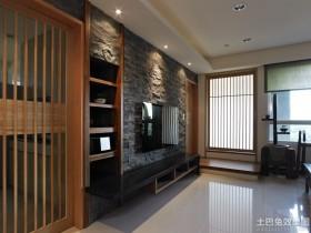日式风格电视柜仿古砖电视背景墙装修效果图大全2014图片