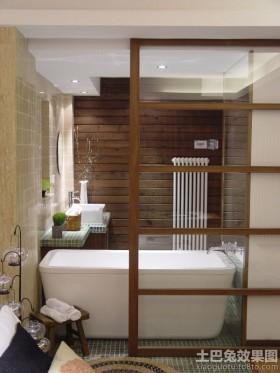 日式风格两室两厅卫生间浴池装修效果图