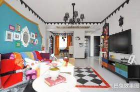 豪华创意混搭风格客厅电视背景墙