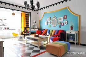 创意混搭风格沙发背景墙装修效果图