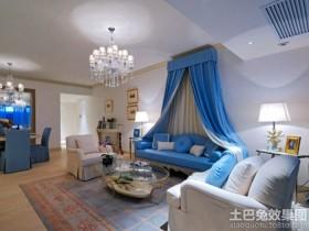 地中海风格三室两厅客厅效果图