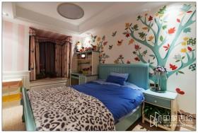 混搭风格卧室手绘墙效果图
