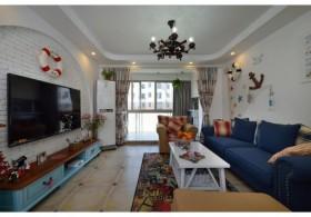 地中海风格80平小户型客厅装修图片
