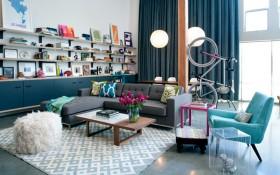 混搭风格别墅家庭客厅装修图片