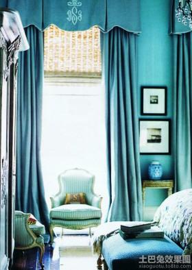 欧式风格卧室法式风格卧室落地窗帘装修图片