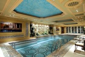 欧式古典风格豪华装修泳池效果图