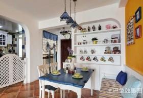 地中海家装两室一厅家用餐厅效果图2014