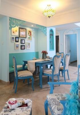 纯美地中海风格两室一厅家庭餐厅装修效果图