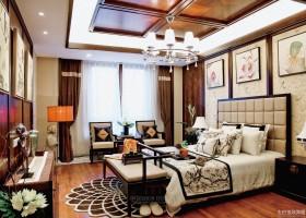 中式风格三室两厅卧室装修效果图欣赏大全2014图片