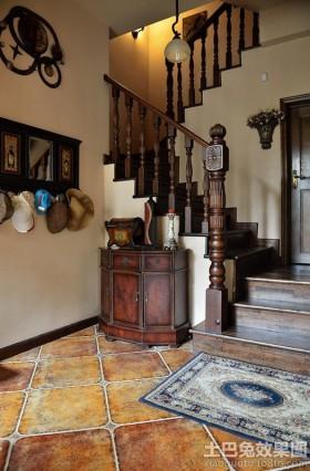 美式田园风格楼梯玄关柜图片