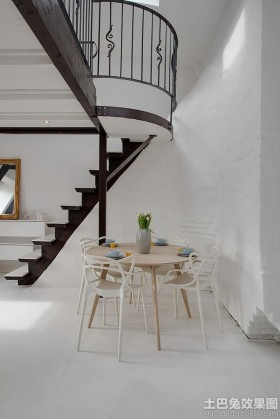 北欧风格楼梯北欧风格loft室内小餐厅装修