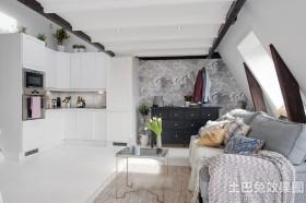 loft客厅厨房一体装修效果图