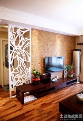 韩式风格100平两室一厅客厅背景墙装修效果图