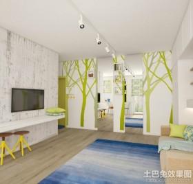 混搭100平米二居室客厅电视背景墙设计2014