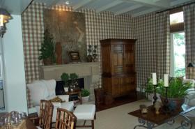 田园风格客厅实木储物柜效果图片