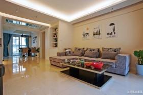现代100平米两室两厅家庭客厅装修效果图片