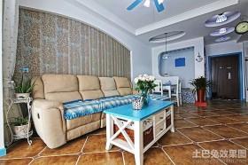 地中海室内装修沙发背景墙效果图