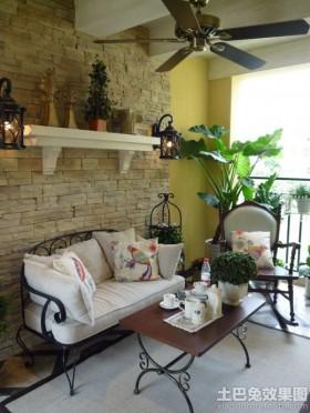 美式风格两室两厅阳台装修效果图