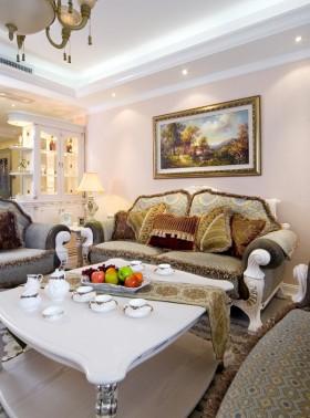 欧式田园风格客厅沙发背景墙效果图