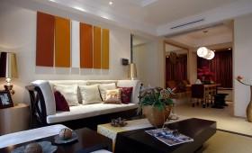 混搭风格两房一厅客厅沙发背景墙色彩装修图片大全