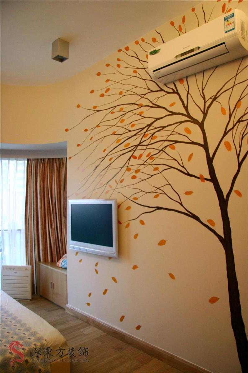 室内电视背景墙彩绘图片