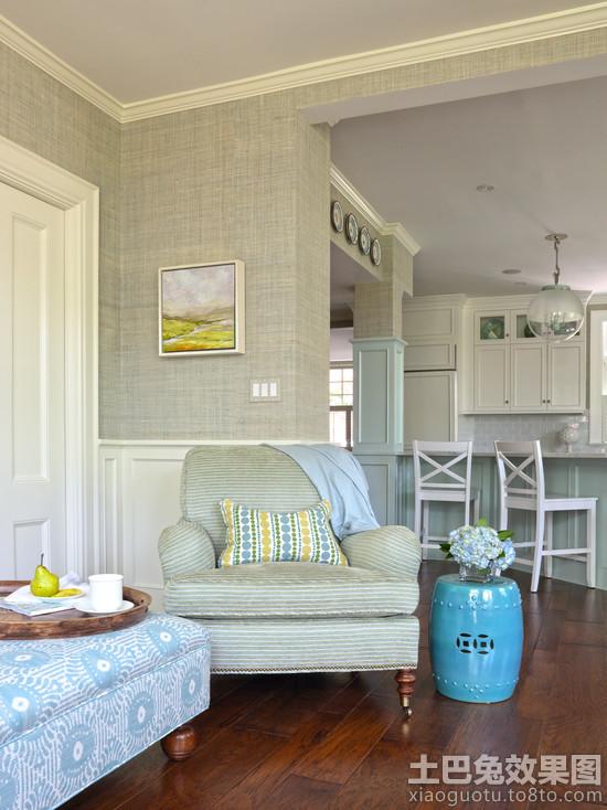 欧式客厅无缝墙布装修效果图高清图片