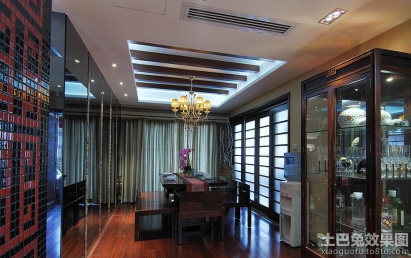中式餐厅方形有梁吊顶装修效果图