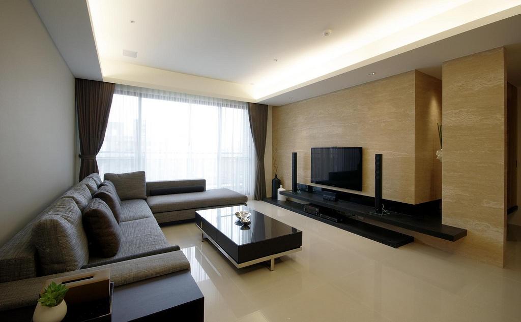 简约80平米小户型装修客厅电视背景墙效果图