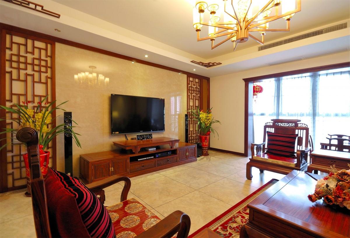 中式风格客厅电视背景墙效果图大全