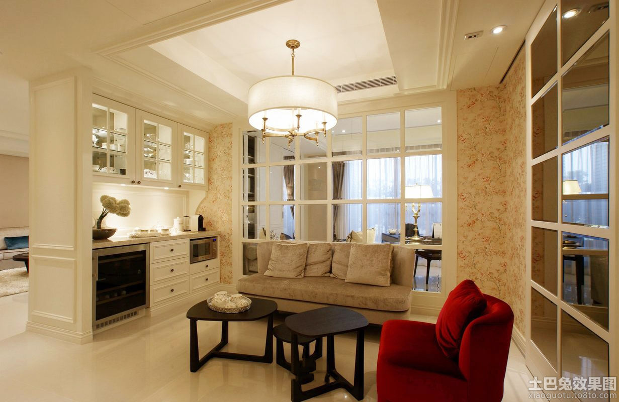 简欧风格小客厅吊灯效果图 - 装修效果图 - 九正家居网图片