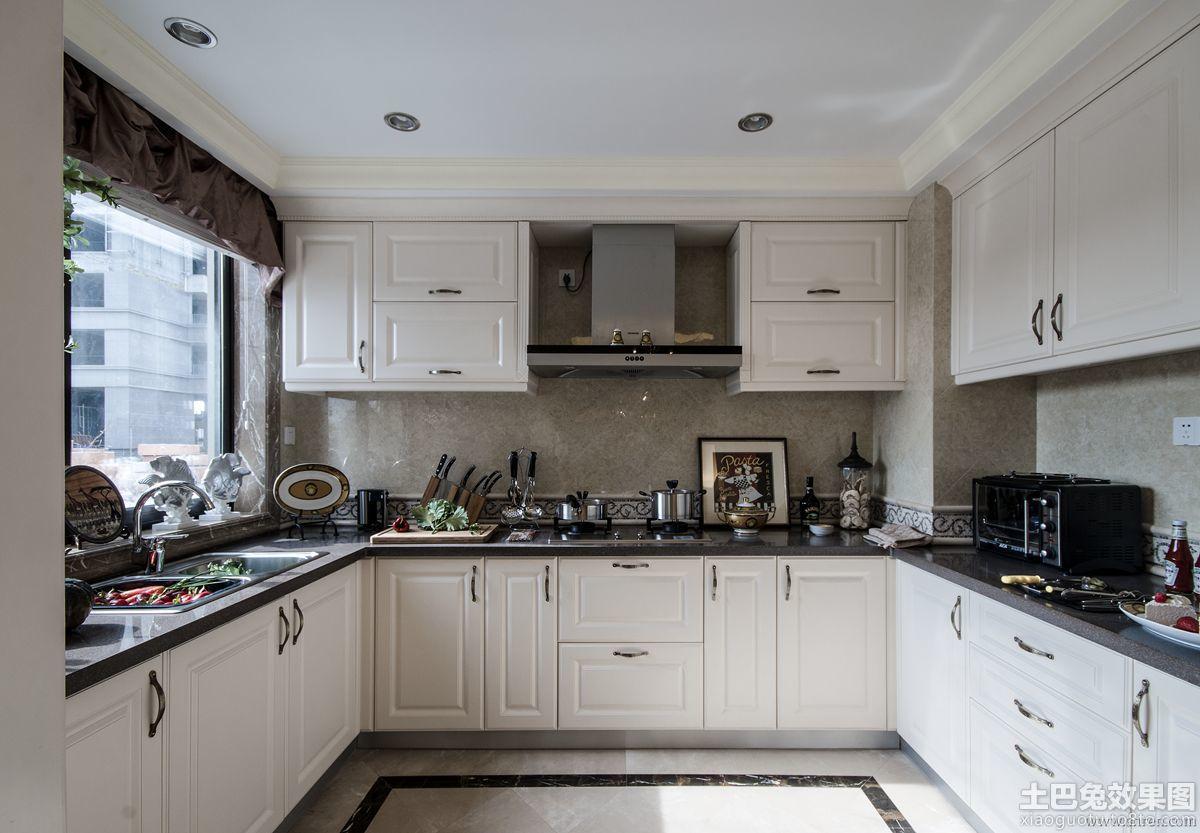 厨房l型白色橱柜装修效果图