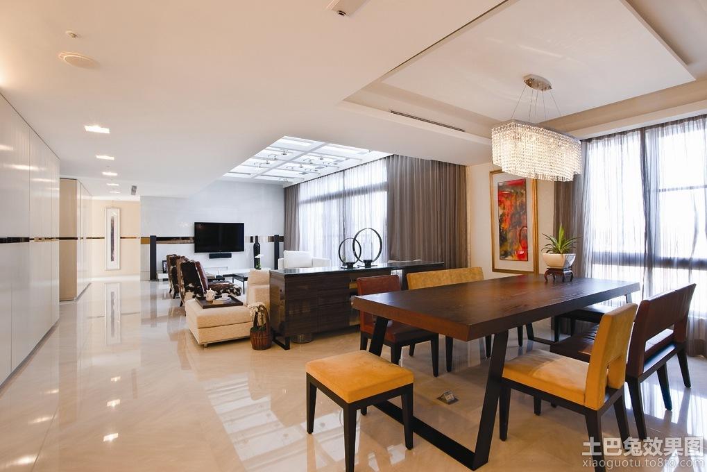 现代风格大客厅餐厅一体吊顶装修效果图图片