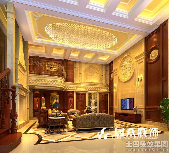 欧式别墅中空客厅效果图-居众装饰