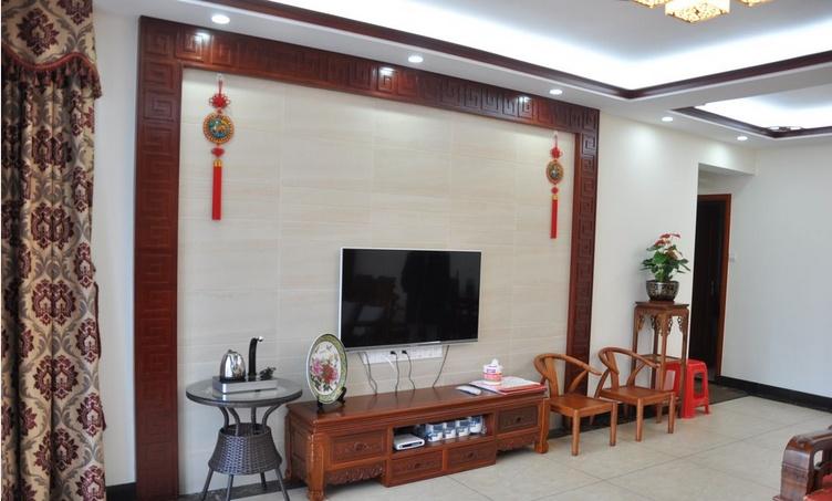 中式瓷砖电视背景墙装修效果图片