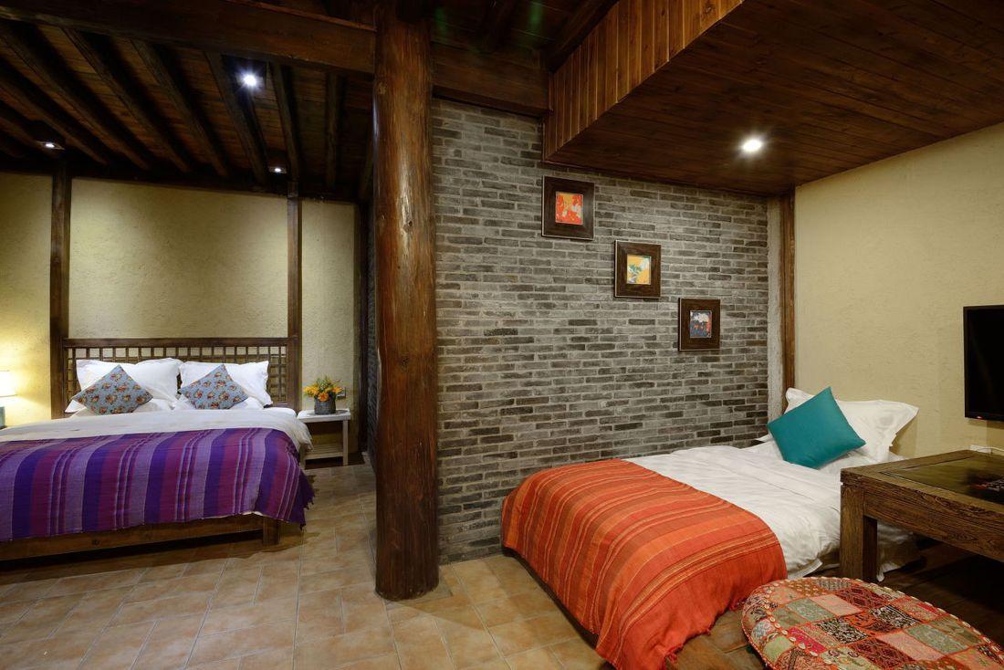 中式复古风格开放式卧室装修效果图
