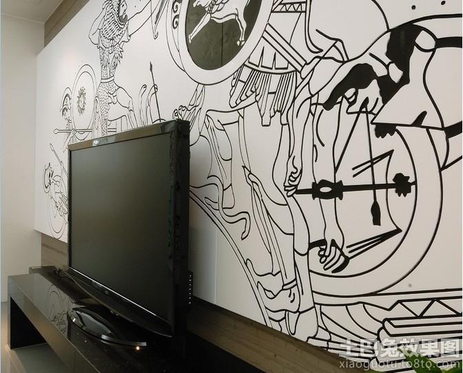 电视墙黑白墙绘贴图