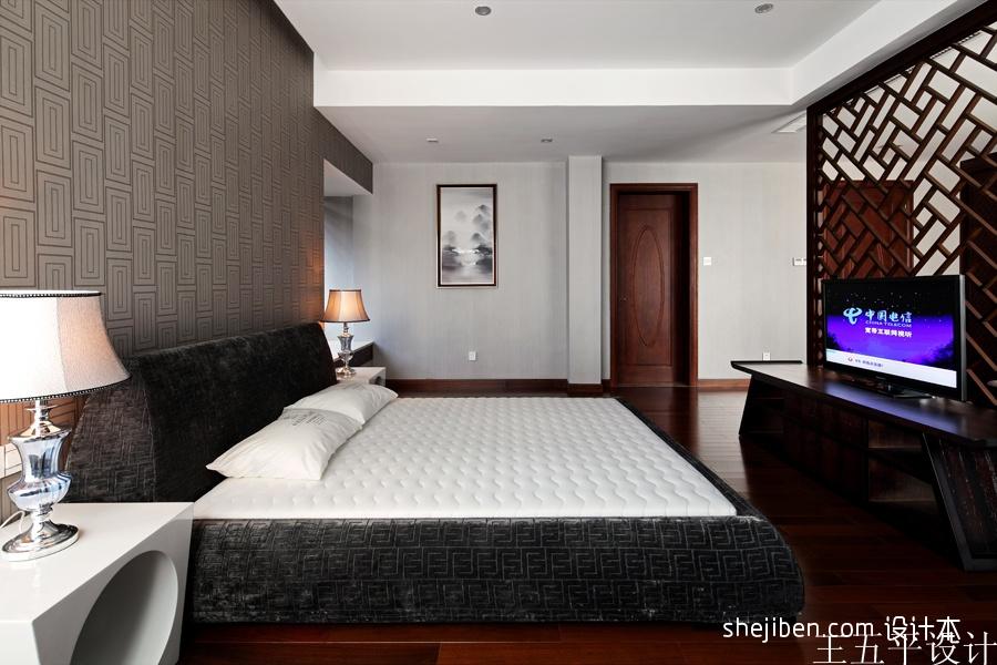 中式风格卧室床头壁纸背景墙效果图