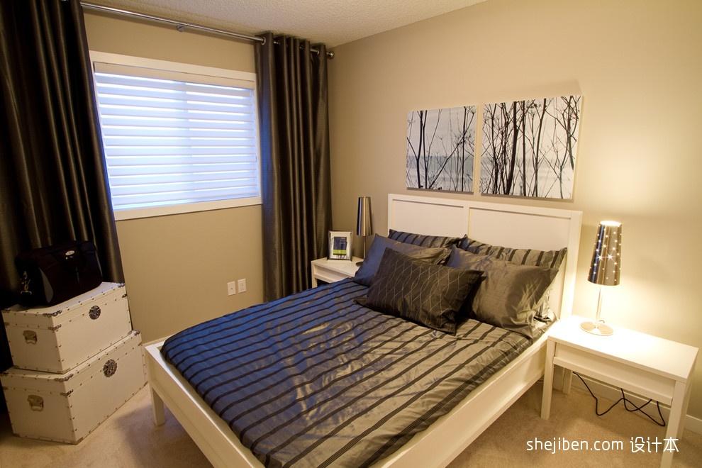 别墅男孩卧室床头背景墙窗帘装修效果图片